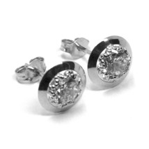 18K WHITE GOLD BUTTON EARRINGS CUBIC ZIRCONIA, ROUND DISC WORKED FRAME, 10 MM image 2