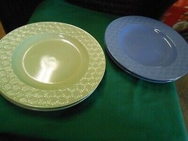 Beautiful Royal Norfolk Dinnerware Set Of 4 Dinner Plates-2 Blue 2 Yellow - $32.26