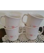 Vintage Corelle By Corning ~ Forever Yours ~ Pink Hearts ~ Set of 4 Coff... - $22.18