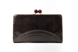 Bottega Veneta Brown Genuine Python Leather Kiss Lock Clutch - $190.00
