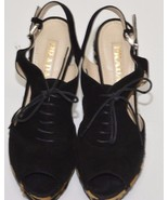 PRADA Black SuedeLeopard Calf Hair Laceup Sling Back Sandal Sz 38.5EU /S... - $395.99