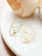 Hollow Face Stud Earrings, Picasso Face Earrings, Picasso Earrings, Abstract - $11.88