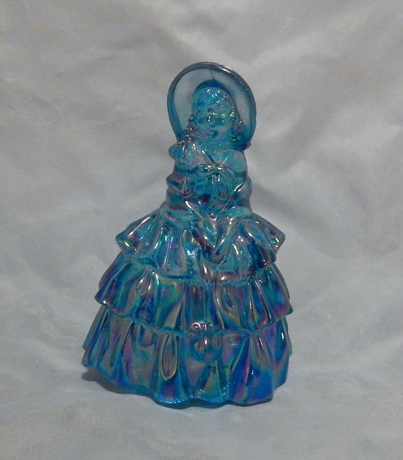 Blue Iridescent Glass Southern Belle Figurine
