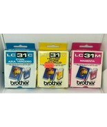 Brother LC31 Ink Cartridge Cyan Yellow Magenta Genuine Sealed New - $7.69