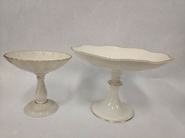 VINTAGE LOT OF 2 LENOX FINE IVORY CHINA COMPOTE FOOTED DISHES SUNFLOWER ... - $39.59