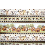 Good Doggie Dog House Puppy Dogs Stripe Cotton Fabric by The Yard - $26.22