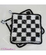 2 Potholders Cotton Crochet Black White Buffalo Check Checkered Flag Hot... - $16.99