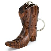 Hand Carved Ironwood Wood Folk Art 3D Country Western Cowboy Boot Keychain image 3