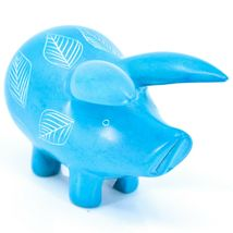 Tabaka Chigware Hand Carved Kisii Soapstone Light Blue Pig Figure Made in Kenya image 4