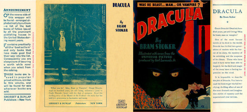 Bram Stoker DRACULA facsimile dust jacket for Grosset & Dunlap 1931 photoplay