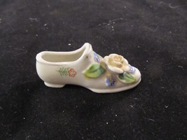 Vintage Victorian Style Miniature Porcelain Shoe With A Rose On The Toe - $13.10