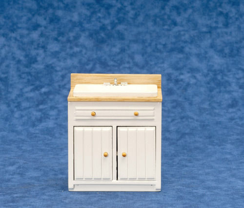DOLLHOUSE MINIATURES MODERN WHITE AND OAK SINK #T5330