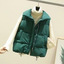 New green warm padded winter vest with pockets sleeveless waistcoat plus... - $38.00