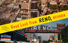 Chrome Postcard NV AH C175 Good Luck from Reno Nevada Aerial Neon Signs ... - $8.00