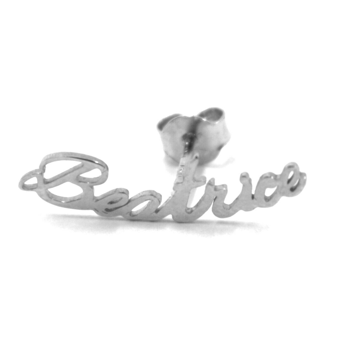 925 STERLING SILVER EARRINGS, WRITTEN NAME BEATRICE, MADE IN ITALY