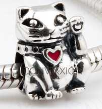 925 Sterling Silver European Charm Bead Kitty Cat Kitten Paw Pet Family ... - $19.95