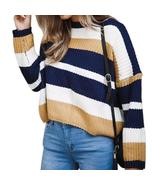 Women Striped Girls Knitted  O-neck Pullovers 2018 Warm Winter Sweaters ... - $42.87+