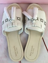 KATE SPADE NIB CLAIRE FLAT SANDAL SHOES WHITE PERFORATED LEATHER TASSEL 8 M - $113.00