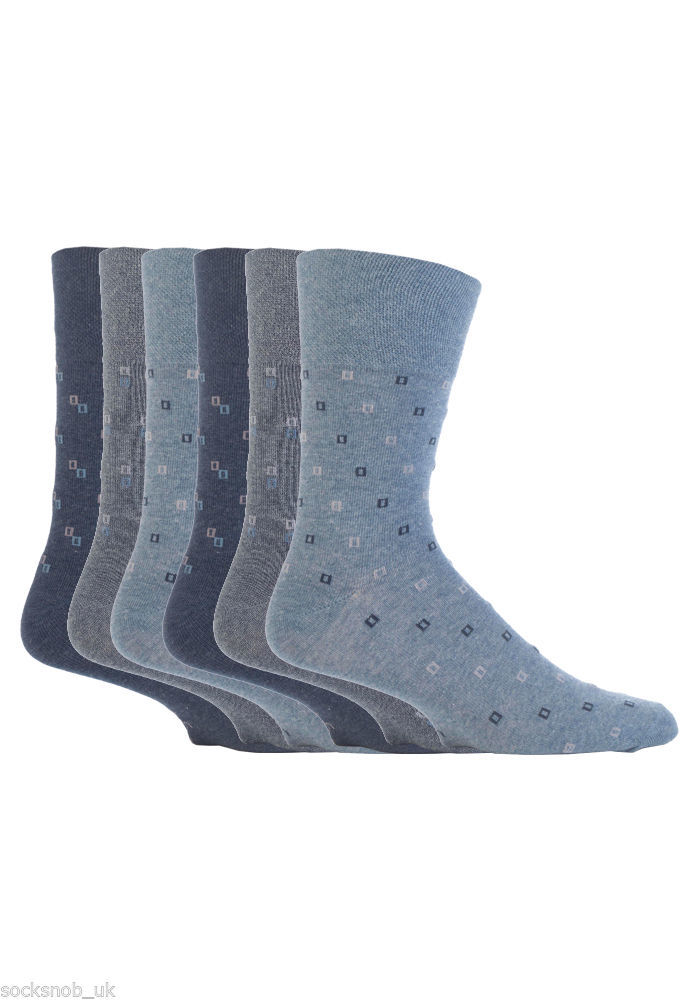 6 Pairs Mens Gentle Grip Socks Size 6-11 Uk, 39-45 Eur MGG44 Denim Sqaures