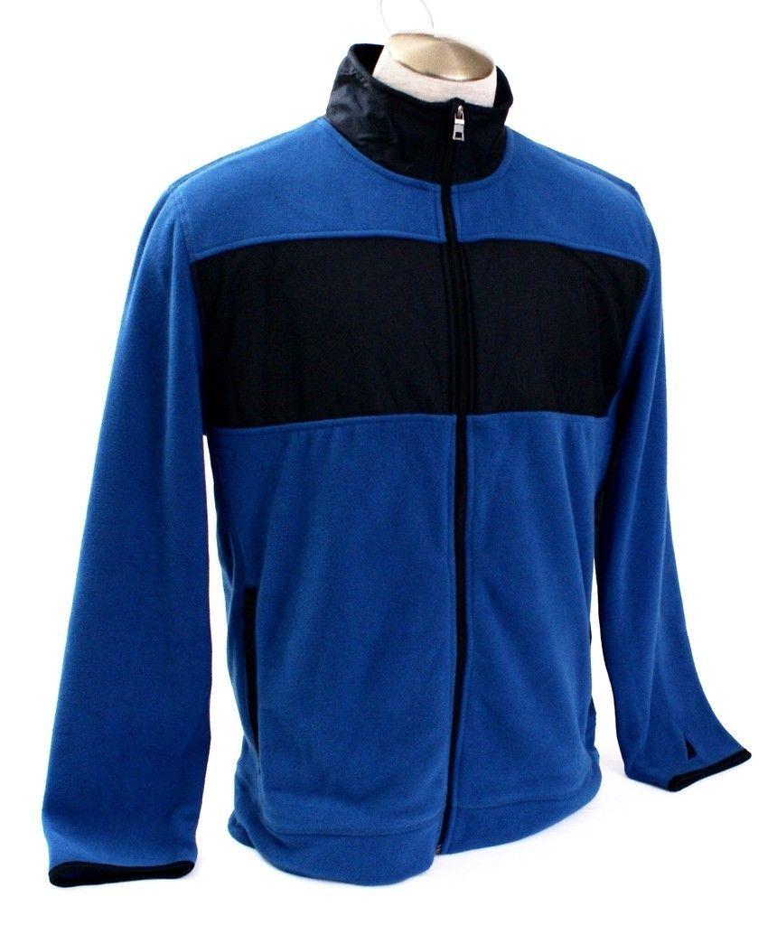 Nautica Blue & Black Zip Front Fleece Jacket Men's NWT image 3