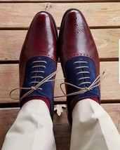 Handmade Men's Burgundy Leather & Blue Suede Brogues High Ankle Lace Up Boots image 3