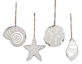Starfish Sand Dollar Seashells Christmas Holiday Ornament Set of 4 Paint... - $35.76