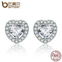 BAMOER 925 Sterling Silver Double Heart Love Stud Earrings for Women Cle... - $17.16