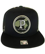 Pittsburgh Men's Patch Style Breathable Snapback Baseball Cap (Black/Camo) - $13.95