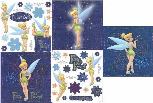Disney Denim Tinkerbell Decal Decorating Kit Applique Wallie Peter Pan Tink Art
