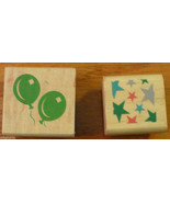 Birthday Rubber Stamp lot of 2 Wood Mount Balloons Stars Celebration - $2.00
