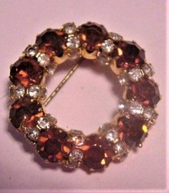 Vintage Weiss? Cranberry Rhinestone Brooch Pin FABULOUS! - $89.95