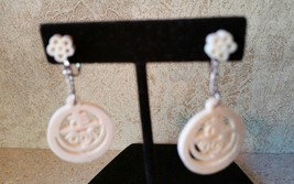 Vintage Carved Celluloid Faux Ivory Asian Motif Dangle Drop Screw Back E... - $39.99