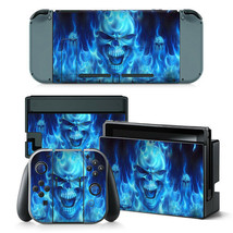 Nintendo Switch Skin Blue Flame Skull Console & Joy-Con Controller Vinyl Decal - $12.84