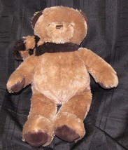 "NAP Brookstone Brown & Tan Fluffy Stuffed Teddy Bear w Striped Scarf 15""... - $29.69"