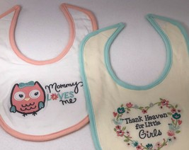 Set Of 2 Bibs Baby Gear Cotton Peach Owl & Teal Birds NEW - $4.94