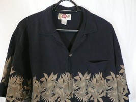 Orig Hilo Hattie Black Silk Hawaiian Camp AY Shirt Flowers L Large Floral - $21.34