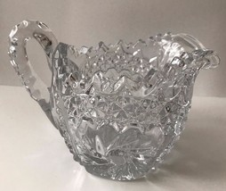 Vintage Clear Saw tooth Hobnail Pinwheel Pattern Pressed Glass Creamer P... - $22.43