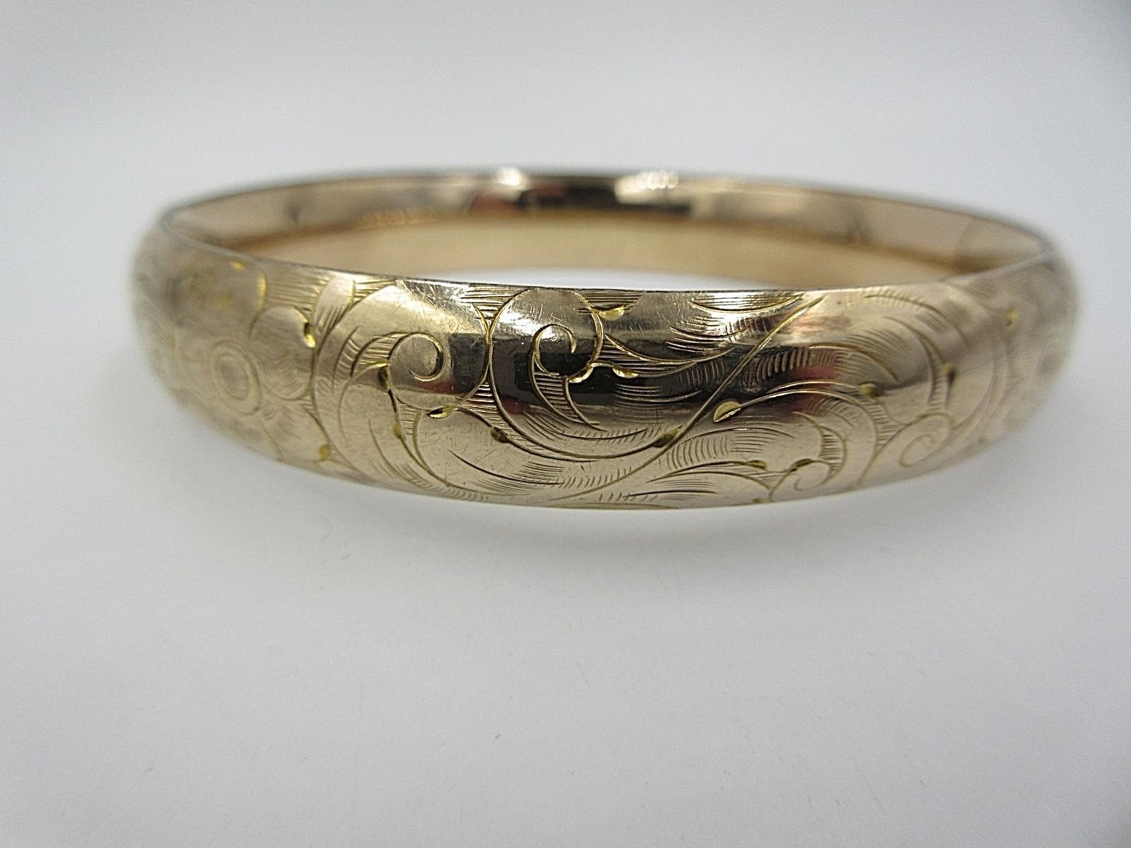 A.A.G. 1/10 Gold Victorian Etched Bangle Bracelet AA Green & Co Hinged
