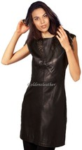 New Dress Women Fitted 100% Lambskin Leather Designer Cocktail Stylish D... - $142.49