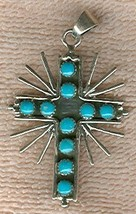 Starburst 10 Turquoise cabochons Sterling Silver Cross - $45.00