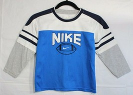 Nike toddlers boys top long sleeve blue white size 6 - $11.54