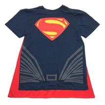NEW SUPERMAN Shirt Attached Superhero Cape Size M Adult Navy Blue Tee DC... - $6.55