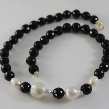 18K YELLOW GOLD NECKLACE BIG DROP BAROQUE PEARL 20 MM & ONYX 10 MM MADE IN ITALY image 1
