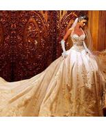 Luxury Ball Gown Wedding Dresses Halter Cathedral Train Gold Lace - $675.00