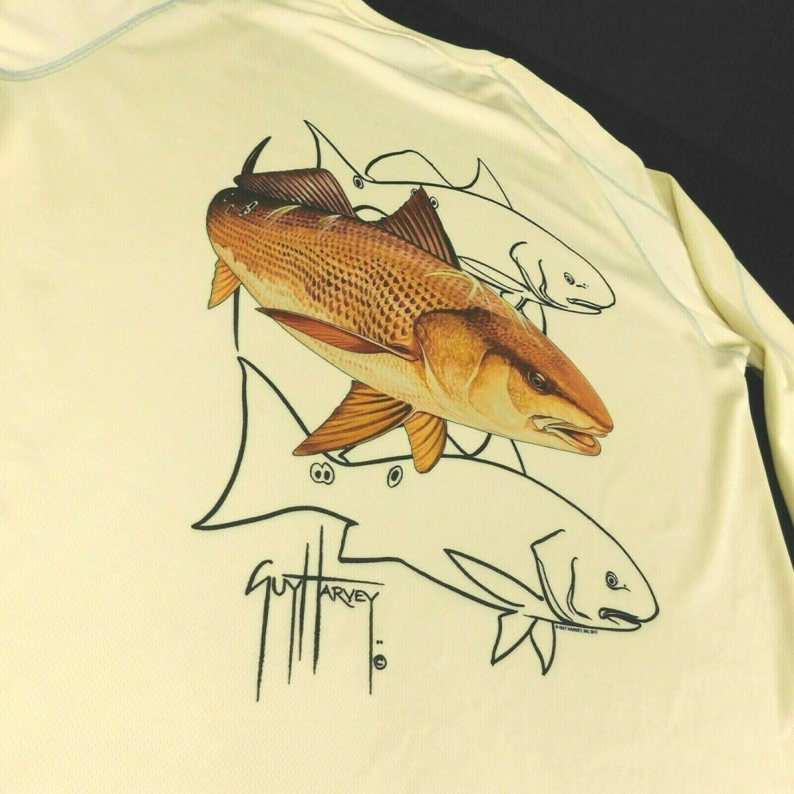Primary image for Guy Harvey Bluewater Double Dry Redfish Seatrout Yellow Performance Shirt Sz XL