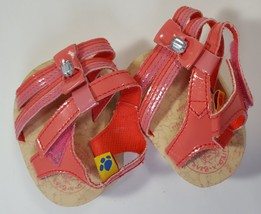 Build A Bear Workshop BAB  Shoes Pink Sandals Cork-Look Sole Jewell Detail - $9.99