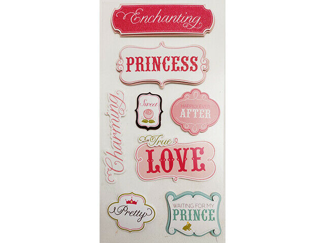 Princess Stickers, Glittered, 8 Count