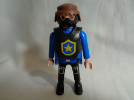 Vintage 1997 Playmobil Male Man Police Figure w/ Blue Outfit & Black Gas... - $2.48