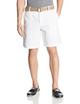 Izod Mens Shorts Sz 42 Solid Bright White Essentials Casual Flat Cotton ... - $29.73