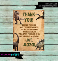 Dinosaur T-Rex Birthday Party Thank You Note Cards Personalized Custom ~... - $1.10